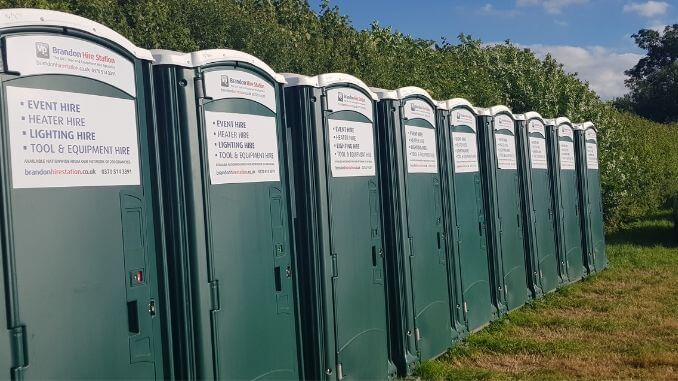 Plastic portaloos at a music festival