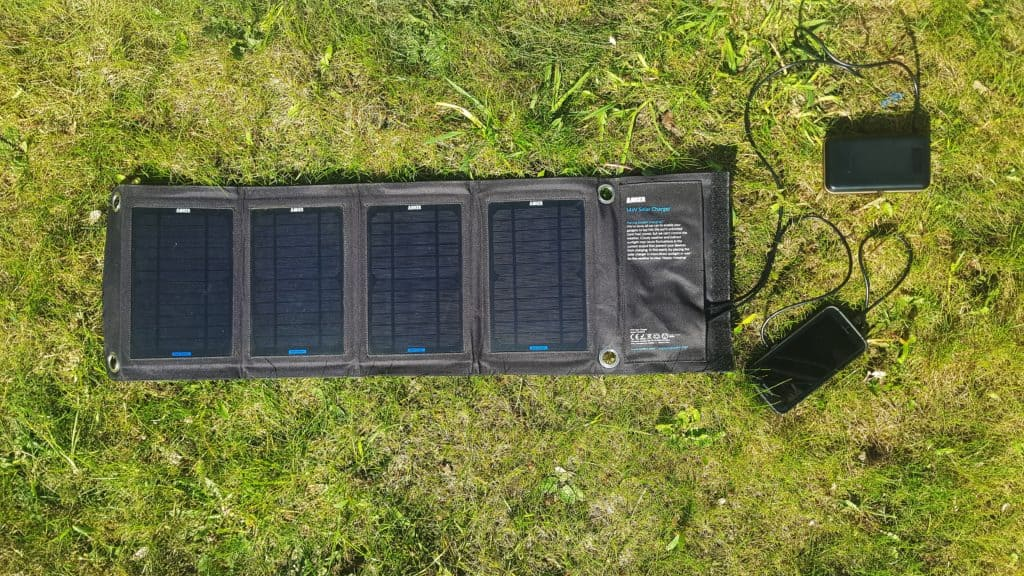 Anker Solar Panel charging power banks on grass