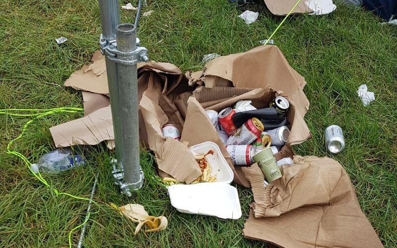 Rubbish left at a music festival